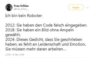 """Tweet über die """"Ich bin kein Roboter""""-recaptchas"""